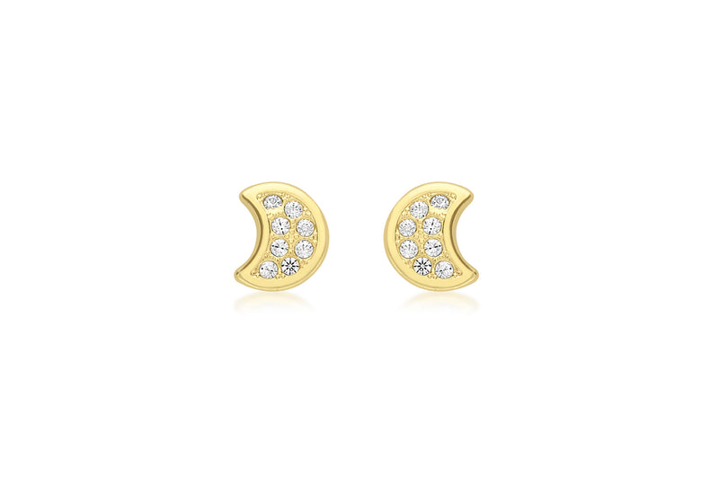9ct Yellow Gold Zirconia  Moon Stud Earrings
