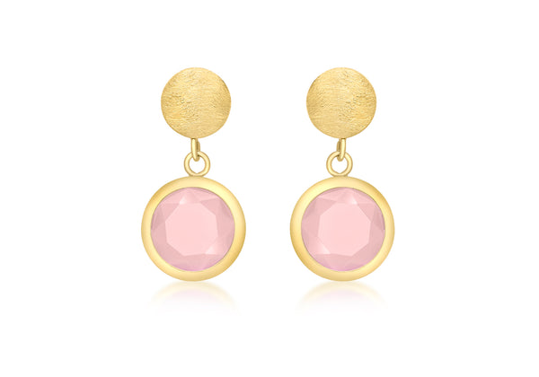 9ct Yellow Gold Round Pink Crystal Drop Earrings