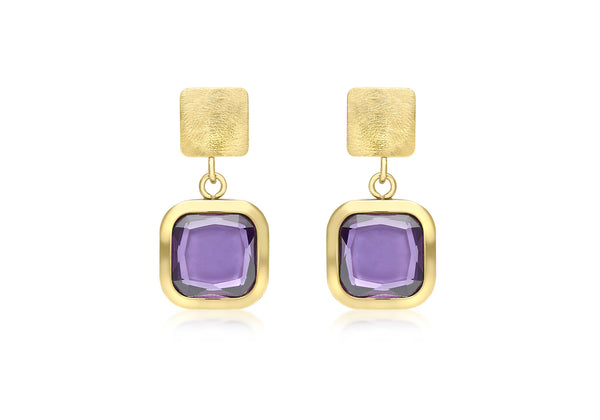 9ct Yellow Gold Square Purple Crystal Drop Earrings