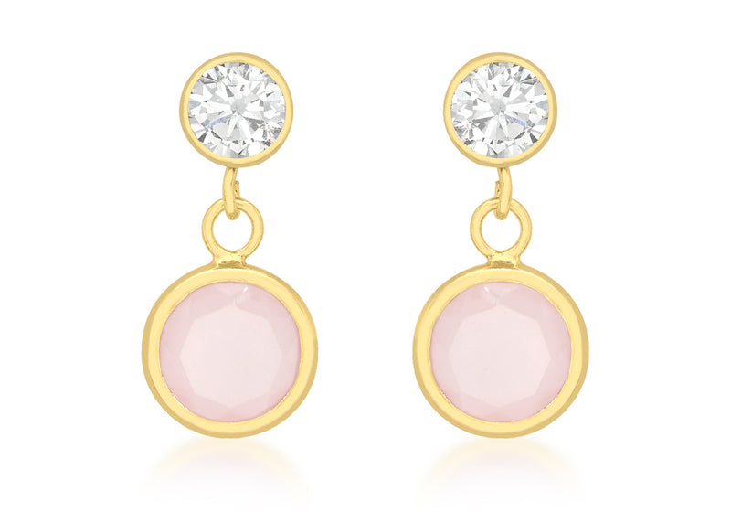 9ct Yellow Gold Zirconia  and Pink Crystal 7mm x 14mm Drop Earrings