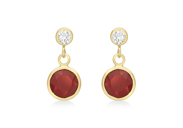 9ct Yellow Gold Red Crystal and Zirconia  Drop Earrings