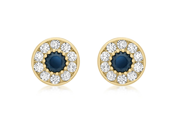 9ct Yellow Gold White and Blue Zirconia  9mm Stud Earrings