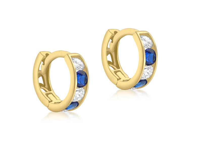 9ct Yellow Gold White & Blue Zirconia Huggy Earrings