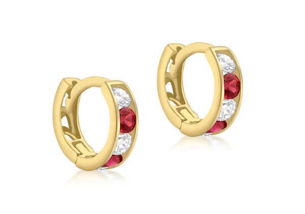 9ct Yellow Gold White & Red Zirconia Huggy Earrings