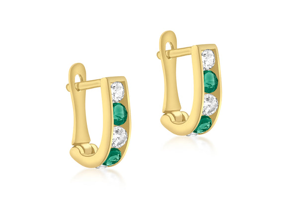 9ct Yellow Gold White & Green Zirconia Half-Hoop Earrings