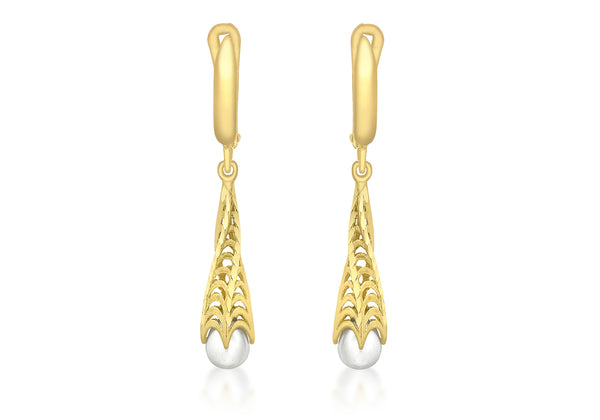 9ct Yellow Gold Twisted Fresh Water Pearl Twisted Cone Earrings