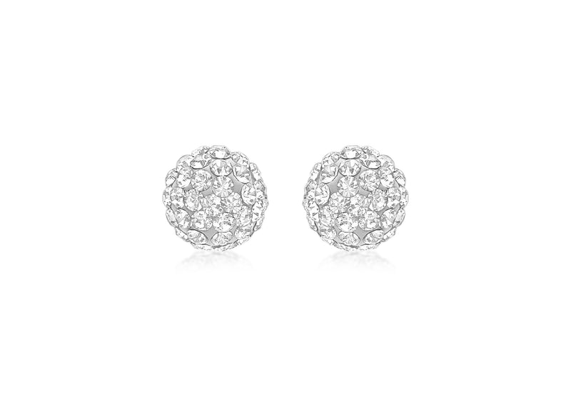 9ct Yellow Gold Crystal 7mm Ball Stud Earrings