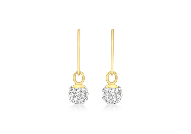 9ct Yellow Gold Crystal 5mm Ball Drop Earrings