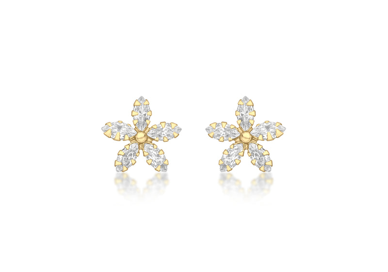 9ct Yellow Gold Marquise Zirconia  10.5mm x 10.5mm Flower Stud Earrings