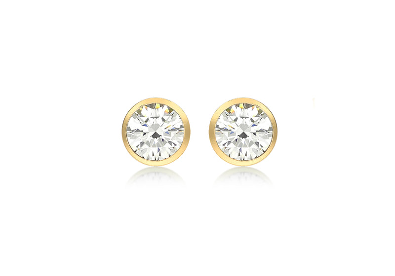 9ct Yellow Gold Zirconia  5.8mm Stud Earrings