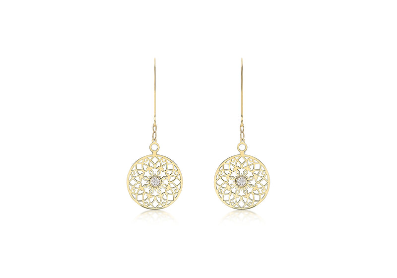 9ct Yellow Gold Zirconia  CutoCut 15mm Disc Drop Earrings
