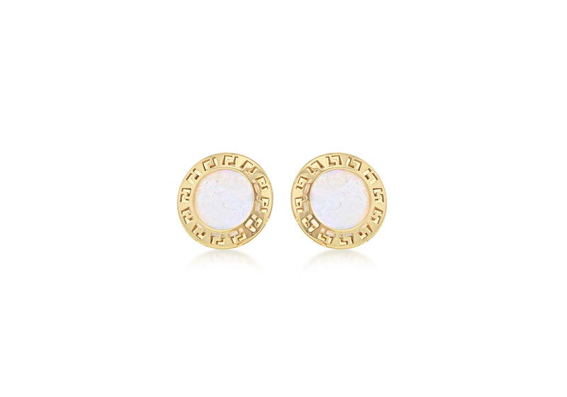 9ct Yellow Gold Mother of Pearl 9mm Greian Key Disc Stud Earrings