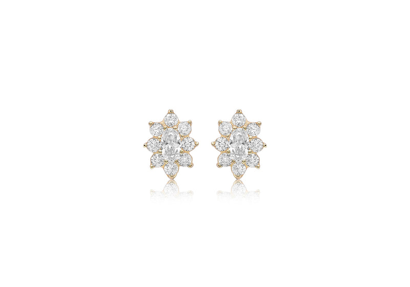 9ct Yellow Gold Zirconia  8mm x 10mm Flower Cluster Stud Earrings