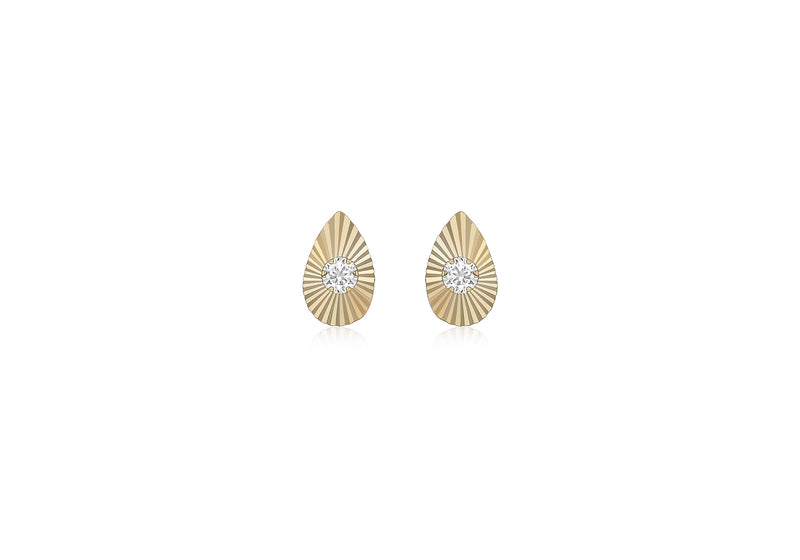 9ct Yellow Gold Zirconia  4.9mm x 7.7mm onertinaed Teardrop Stud Earrings