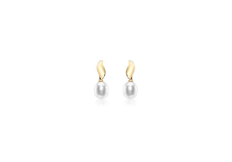 9ct Yellow Gold 6.5mm x 7.5mm Pearl and urved Ellipse Stud Earrings