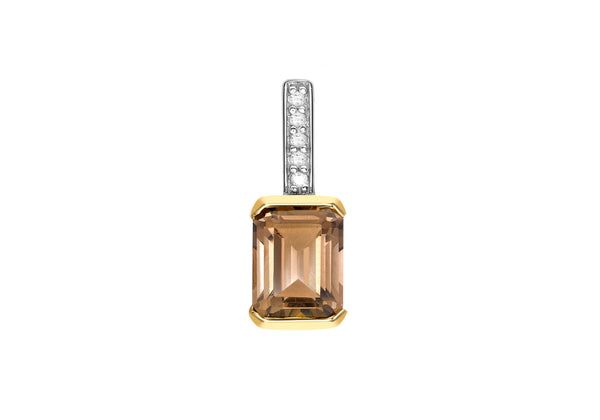 9ct Yellow Gold 0.02t Diamond and Rectangular Smokey Quartz Pendant