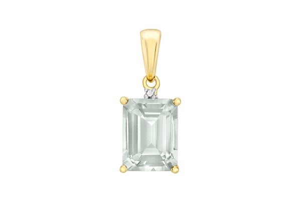 9ct Yellow Gold 0.005t Diamond and Green Amethyst 8mm x 17mm Pendant