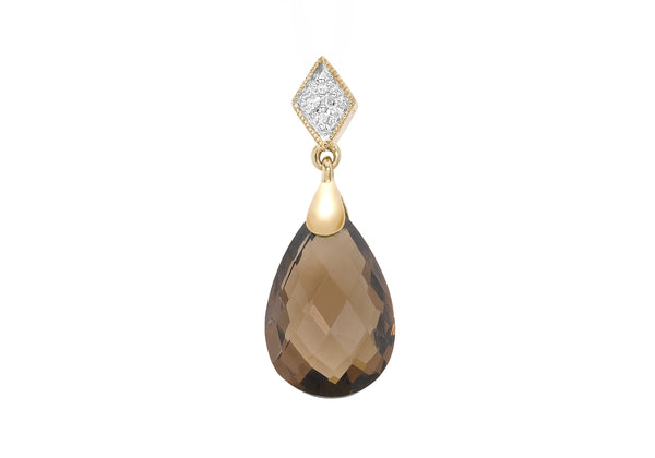 9ct Yellow Gold 0.02ct Diamond and Smokey Quartz Teardrop Pendant
