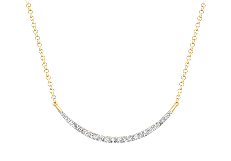 "9ct Yellow Gold 0.15t Diamond resent Bar Adjustable Necklet 41m/16""-46m/18""9"