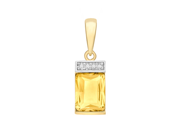 9ct Yellow Gold Diamond and   8mm x 24mm Rectangular Pendant