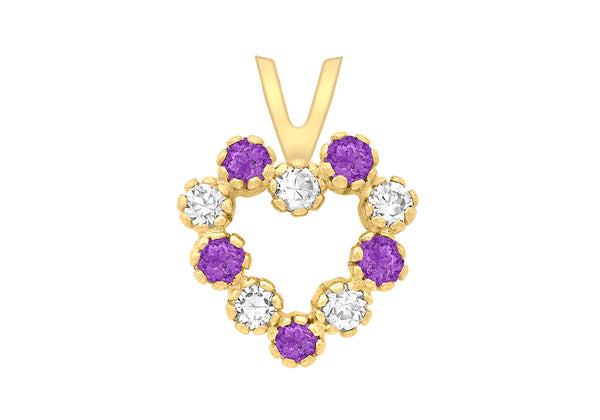 9ct Yellow Gold White and Purple Zirconia  Heart Pendant