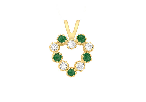 9ct Yellow Gold White and Green Zirconia  Heart Pendant