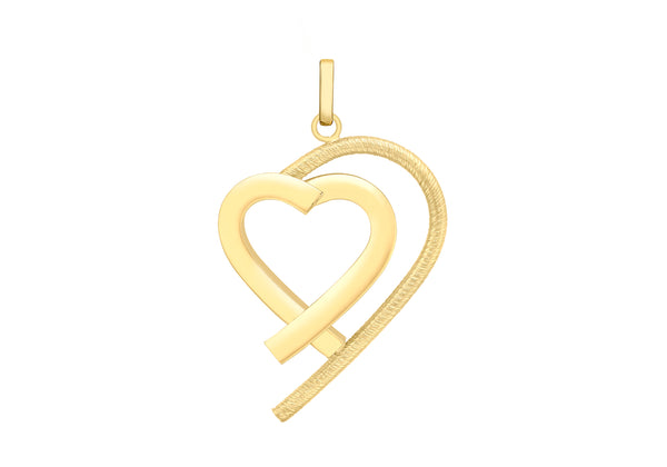 9ct Yellow Gold Triangular Tube Heart & Shadow Pendant
