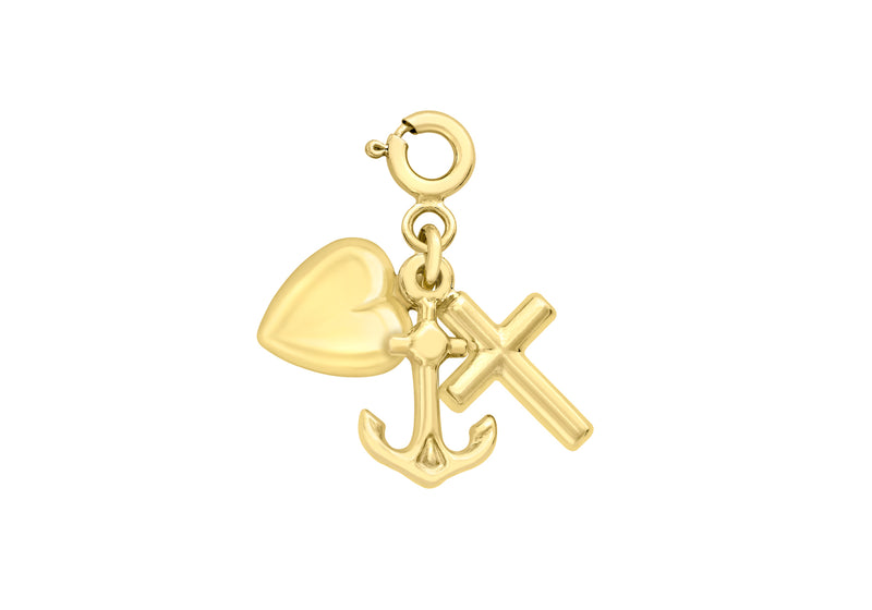 9ct Yellow Gold Faith Hope & Charity Spring Ring Charm