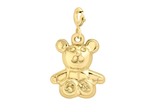 9ct Yellow Gold Teddy Bear Bolt Ring Charm