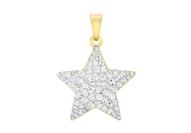 9ct Yellow Gold Crystalique Star Pendant