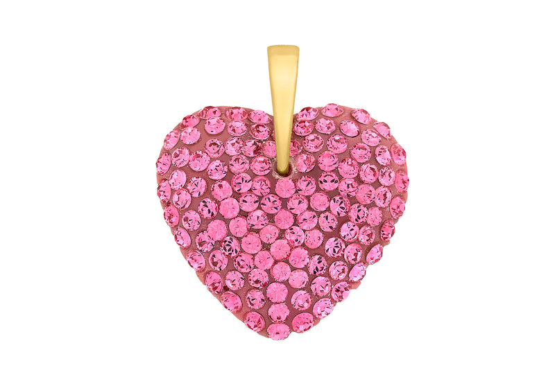 9ct Yellow Gold Pink ryastal Heart Pendant