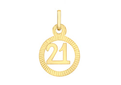 9ct Yellow Gold 11mm '21' Swirl Pendant