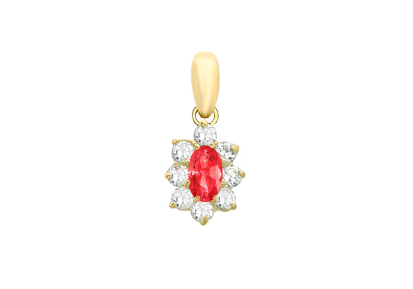 9ct Yellow Gold Oval Red and White Zirconia  8mm x 16mm Pendant