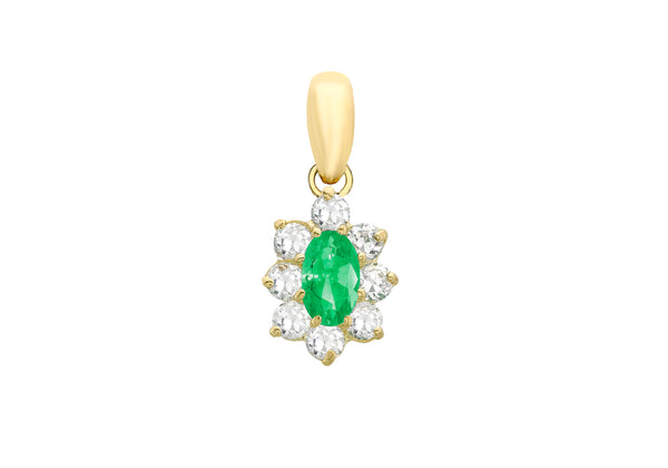 9ct Yellow Gold Oval Green and White Zirconia Pendant
