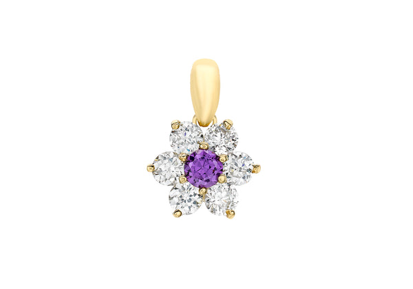 9ct Yellow Gold Purple and White Zirconia  Flower Cluster Pendant