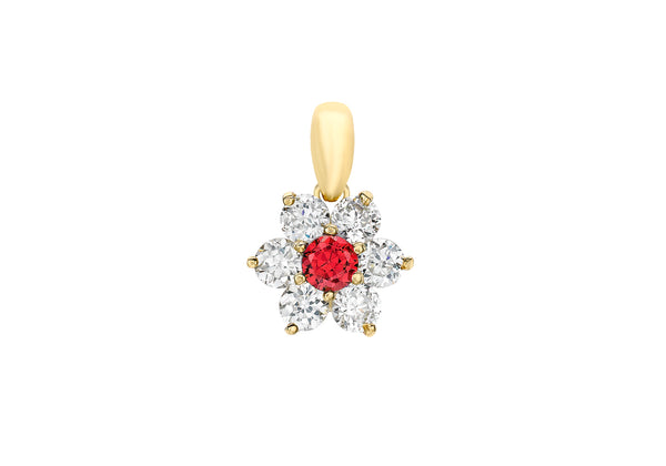 9ct Yellow Gold Red and White Zirconia  Flower Cluster Pendant