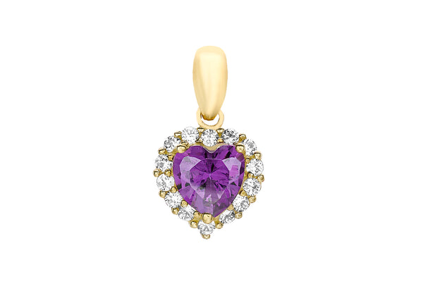 9ct Yellow Gold Purple and White Zirconia  Heart Cluster Pendant