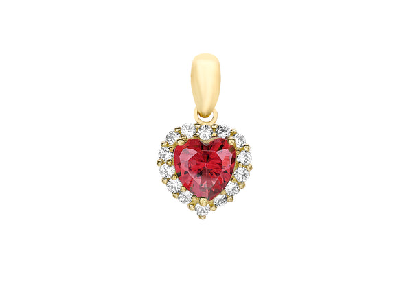 9ct Yellow Gold Red and White Zirconia  Heart Pendant