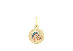 9ct Yellow Gold 11mm Madonna & hild Round Satin Pendant