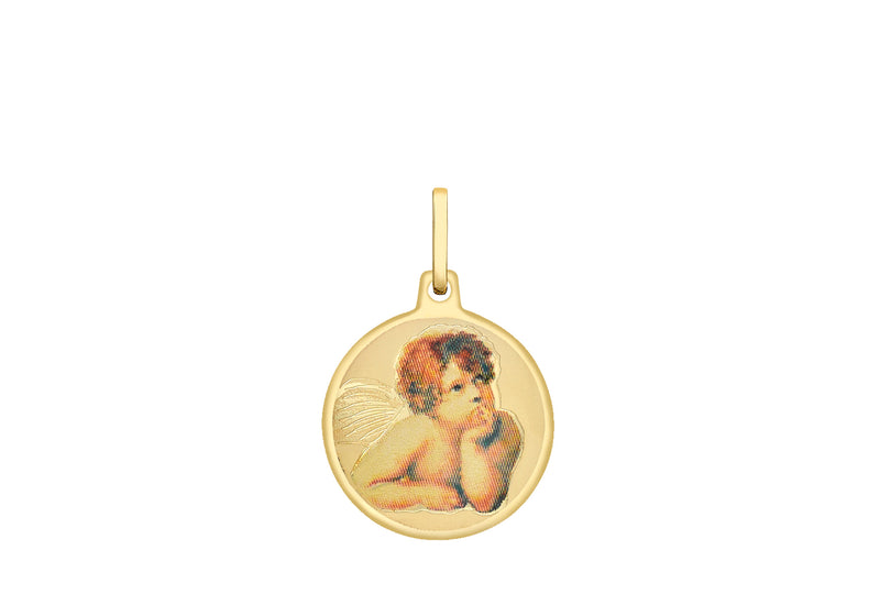 9ct Yellow Gold Cherub Round Satin Pendant