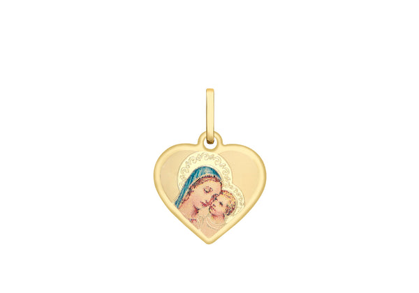 9ct Yellow Gold 14mm Madonna & hild Heart Satin Pendant