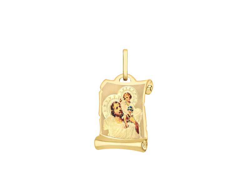 9ct Yellow Gold Saint Christopher Scroll Satin Pendant
