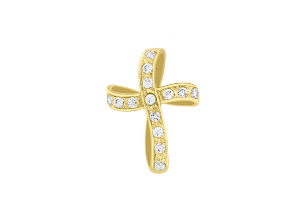 9ct Yellow Gold Twisted Zirconia  Cross Pendant