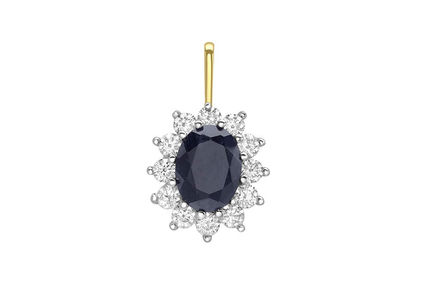 9ct Yellow Gold Sapphire and Zirconia Cluster Pendant
