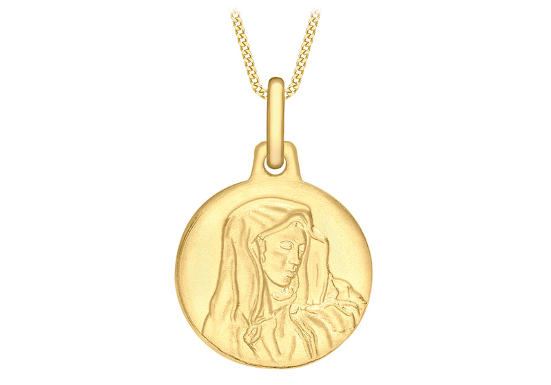 9ct Yellow Gold 12mm 'Holy Mary' Disc Pendant