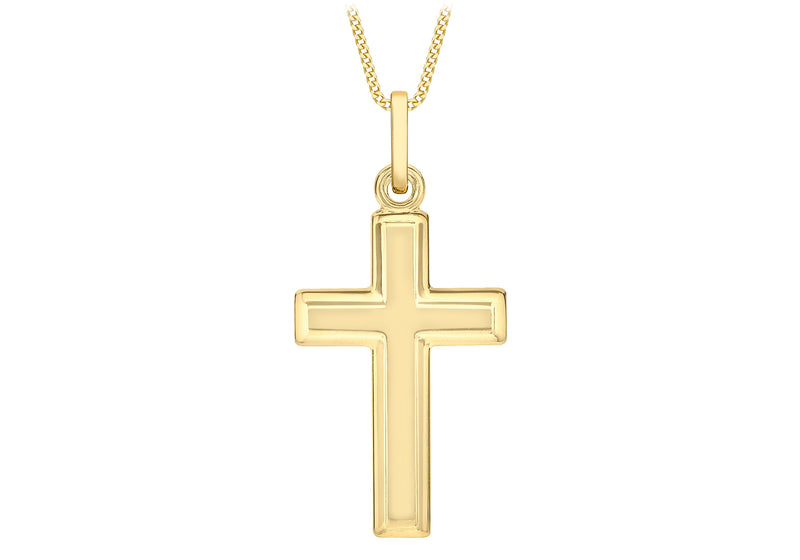 9ct Yellow Gold Bevelled Edge Cross Pendant