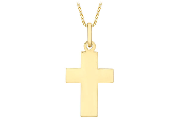 9ct Yellow Gold Thick Plain Cross Pendant