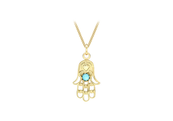 9ct Yellow Gold Turquoise 12.6mm x 26.5mm Hamsa Hand Pendant