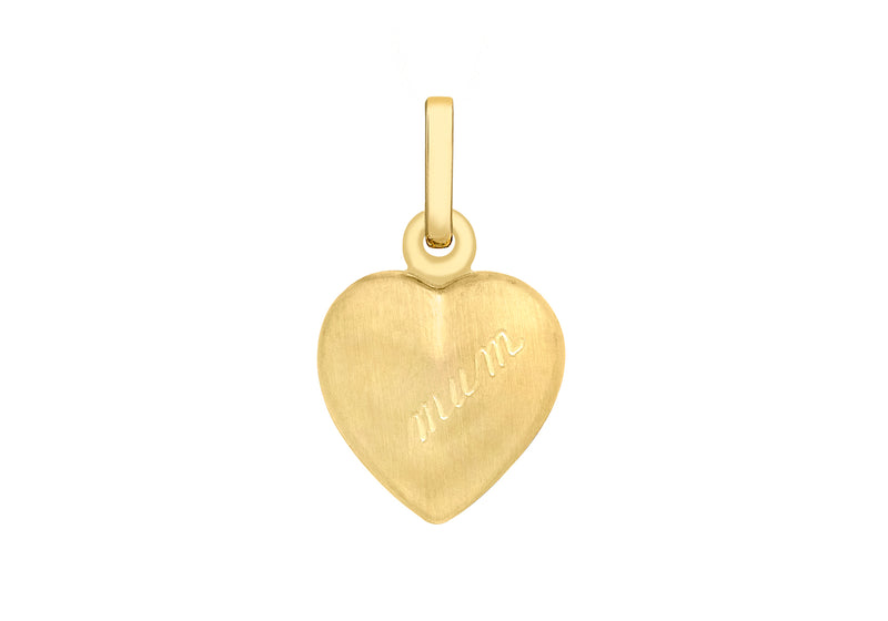 9ct Yellow Gold 12mm x 20mm 'Mum' Satin Heart Locket