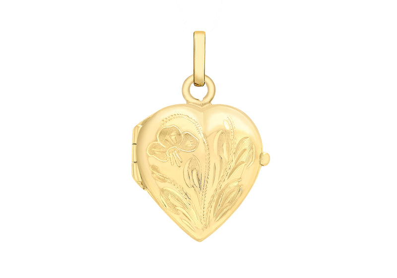 9ct Yellow Gold 16mm x 25mm Engraved Floral Heart Locket